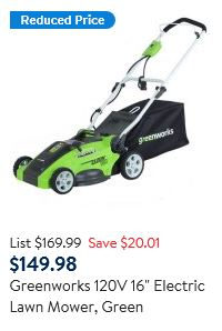 Greenworks Lawn Mower review, 120v 16 inch