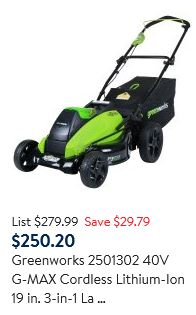 Greenworks Lawn Mower review, 2501302 40V