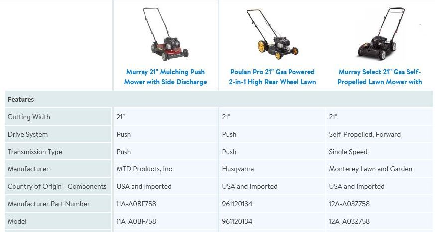 Murray 21 inch 500e, side discharge, lawn mower review, comparison chart