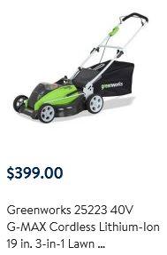 Greenworks Lawn Mower reviews, 25223, 40v 19 inch