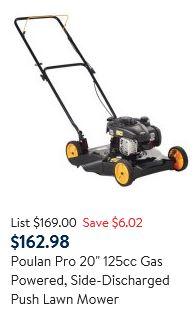 Poulan Pro Lawn Mower review 20 inch 125cc
