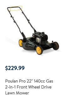 Poulan Pro Lawn Mower review, 22 inch 140cc