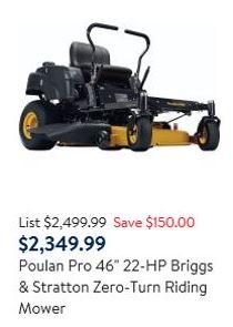 Poulan Pro Zero turn 46 inch 22 hp