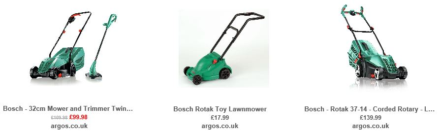 Argos UK, Mower Selection