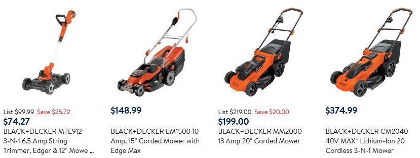 Black Decker Mowers at Walmart
