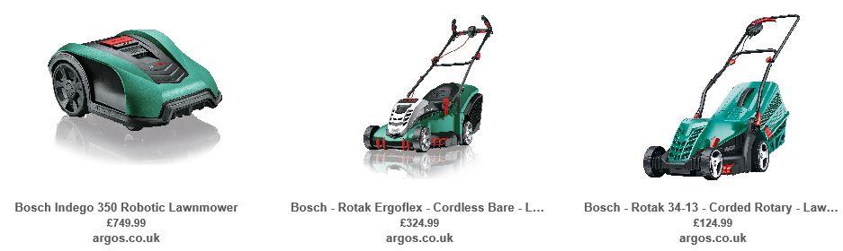 Bosch Lawnmowers, Argos UK